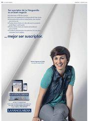 Publicidad como actriz desde 2010 hasta actualidad: Protagonista gráfica diario LA VANGUARDIA. (España)