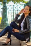 Treggings + black jacket + heels = perfect match