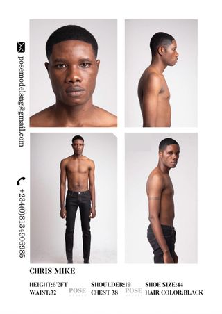 New face male model Michael from Nigeria