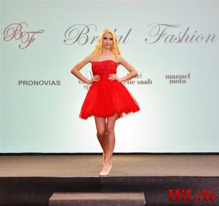 modeling/walking for bridal fashion dresses.