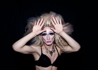 Miss Plastica: photo shoot of created drag queen character miss plastica. makeup, hair and styling by Povilas Bastys