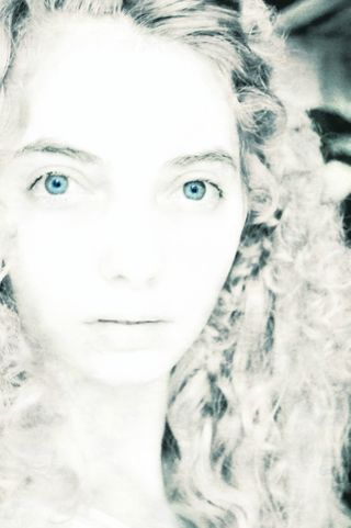 curly hair and photo editing - pure white with blue eyes - snow fairy -  Personal work