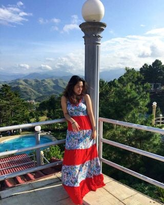 Wearing a maxi dress. This was taken in the Philippines
