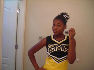 This is one of my cheerleading photos I took. In this picture I was feeling very confident and sassy.