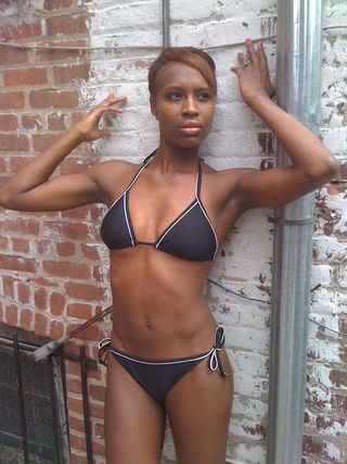 MODELING IN BATHING SUITE IN NEWYORK.