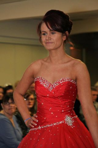 modelling prom dresses on the catwalk